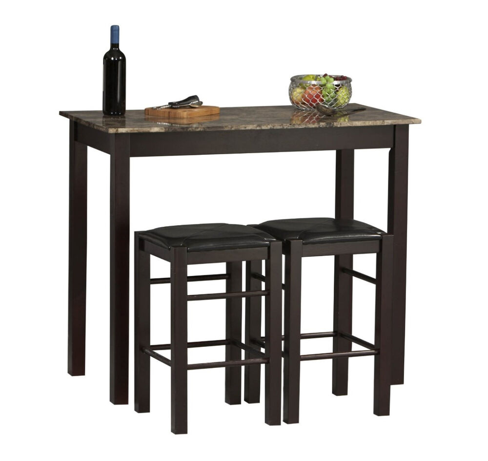 Small kitchen table with stools tall set for 2 high for Small tall kitchen table