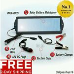 SOLAR POWERED CAR AUTO BOAT MOTORCYCLE 12V BATTERY MAINTAINER TRICKLE CHARGER