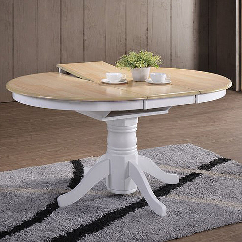 Large extending dining table farmhouse round rustic oak for Round extending dining table