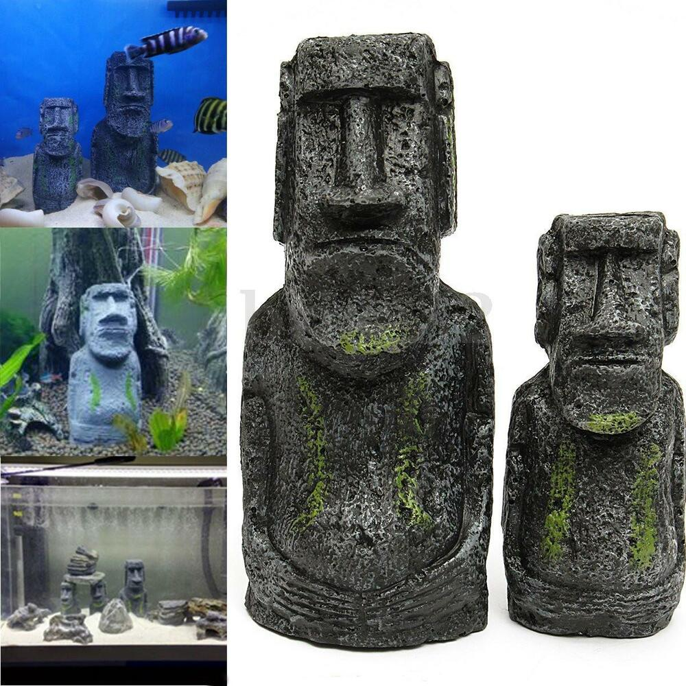 2pcs easter island statue aquarium ornament fish tank rock for Moai fish tank