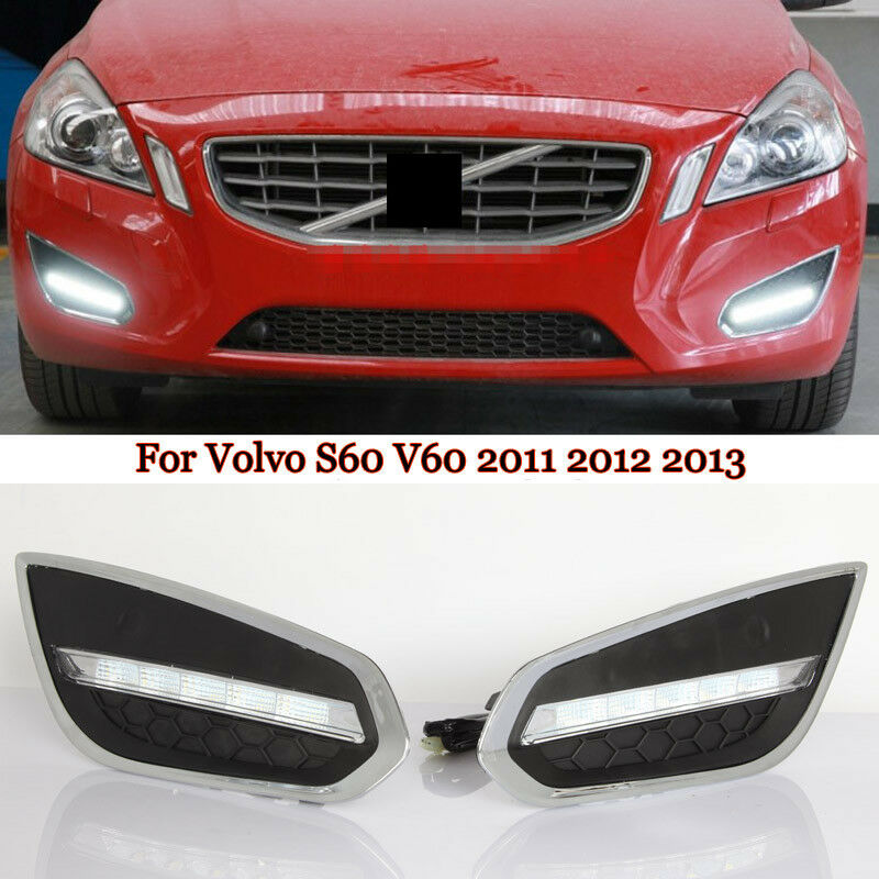 White DRL LED Daytime Running Light Fog Lamp Bezel For
