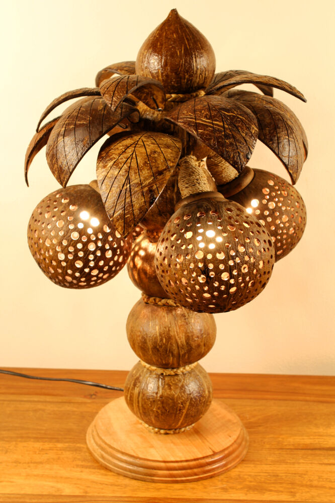50cm xl kokosnuss lampe palme kokos leuchte thailand coconut stehlampe gro holz ebay. Black Bedroom Furniture Sets. Home Design Ideas