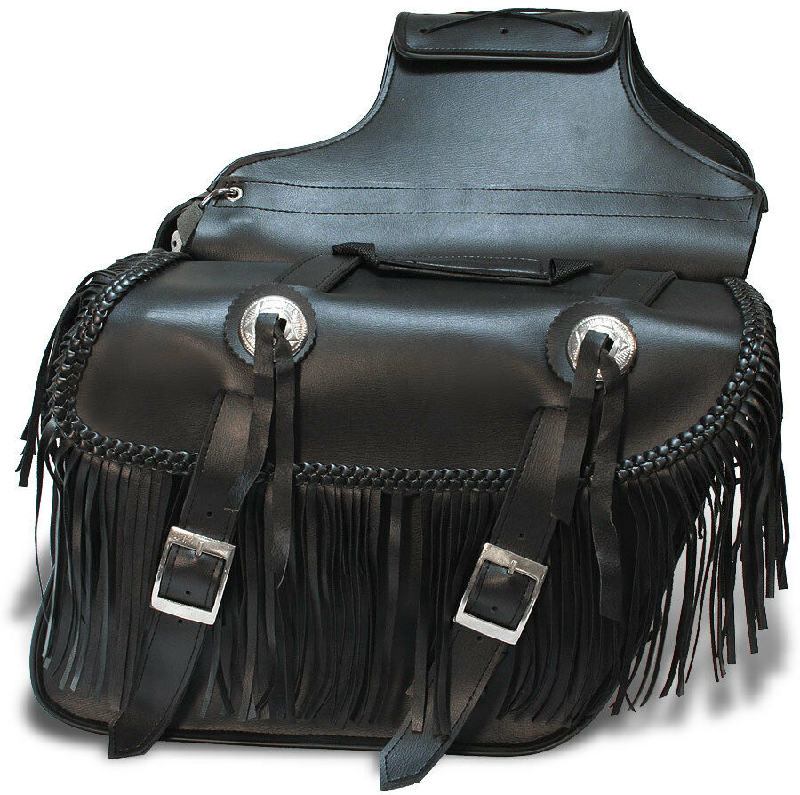 Quick Detach Motorcycle Saddlebags W Fringe Universal Fit