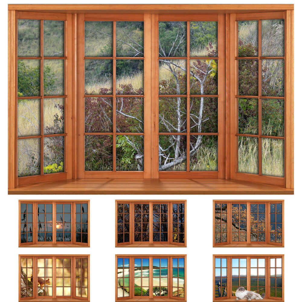 Faux Fake Window Illusion Wooden 4 Pane Bay Window