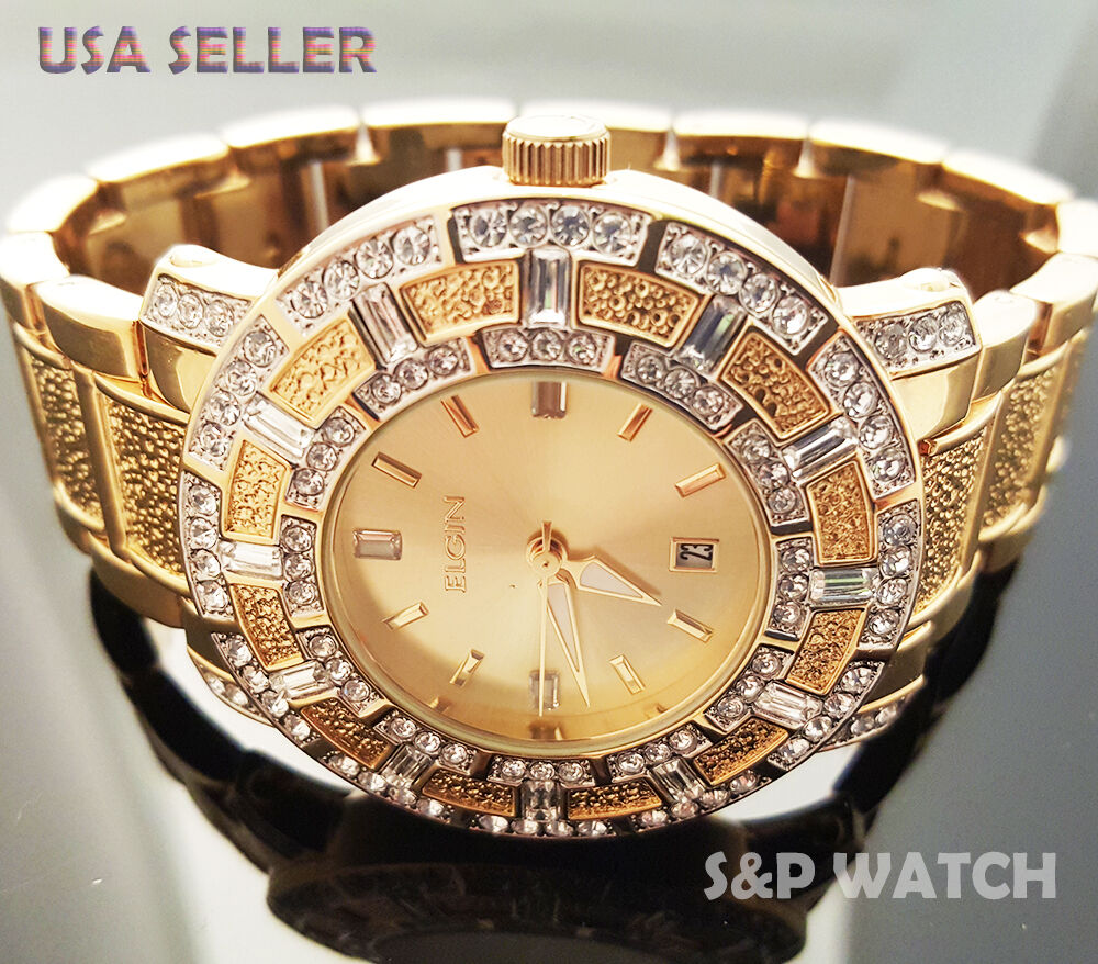 Hip Hop Mens Elegant Gold Tone Bling Iced Out Elgin Dress Crystal Bracelet Watch Ebay