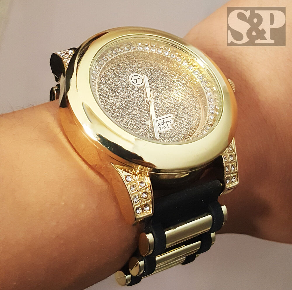 Men luxury bling gold dial hip hop iced out techno pave for Rapper watches