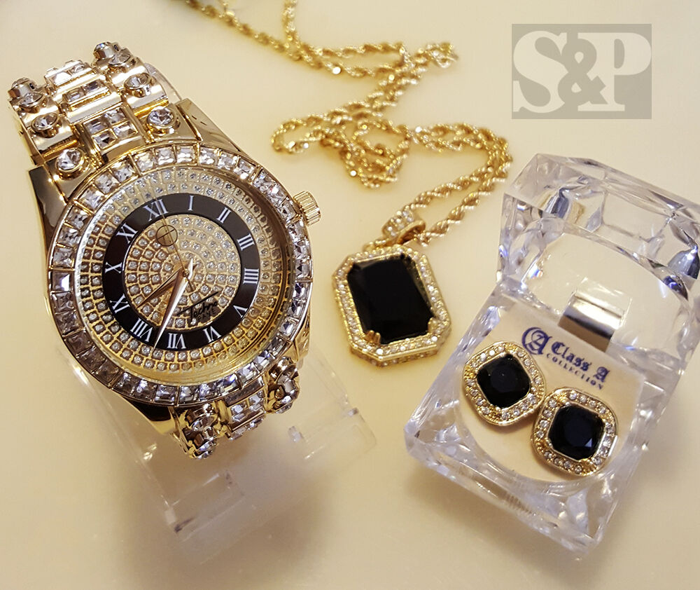 MEN HIP HOP ICED OUT GOLD RICK ROSS WATCH & ONYX NECKLACE ...
