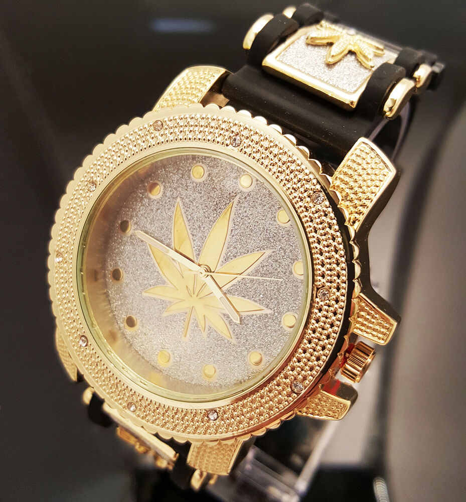 Rare Men Iced Out Techno Pave Gold Pt Marijuana Leaf Hip Hop Bullet Band Watch Ebay