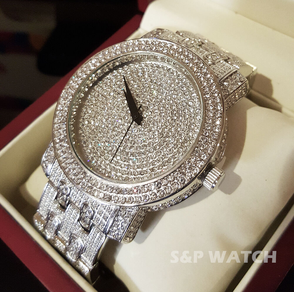 Men Luxury Iced Out Bling Hip Hop Techno Pave White Gold Simulated Diamond Watch Ebay