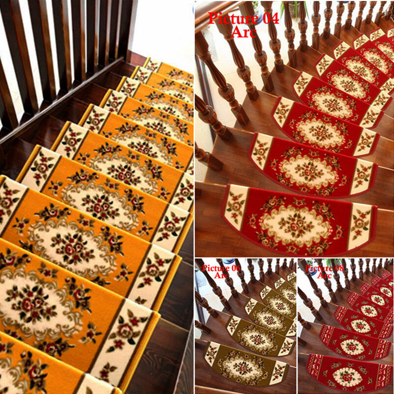 Rooster Tapestry Non Skid Rug: 13 Steps Area Rug Floral Stair Treads Carpet Mat Non-slip
