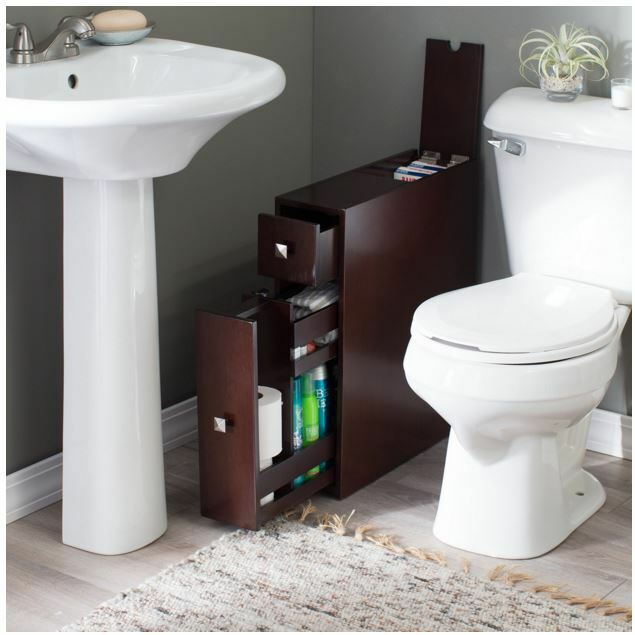 Narrow Bathroom Cabinet Storage Thin Bath Drawer Wood Floor Toilet Paper Holder
