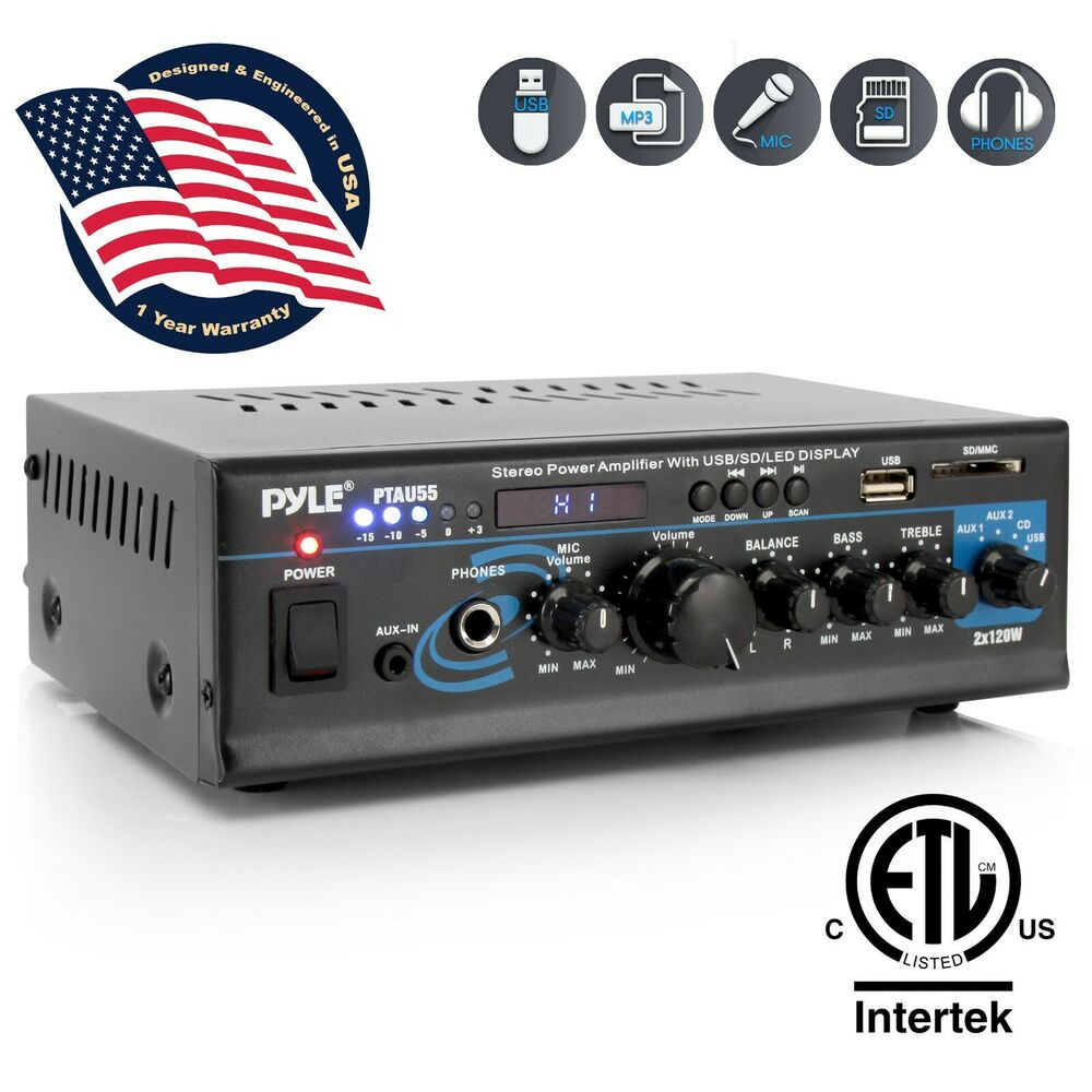 New Pyle Ptau55 2 X 120w Stereo Amplifier Usb  Sd Aux Cd