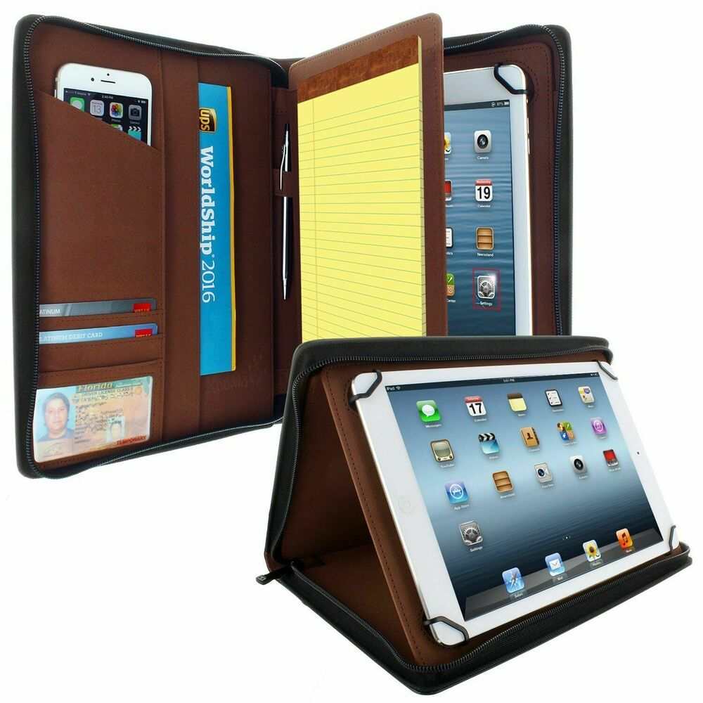 Universal Tablet Padfolio Case With Pockets Fits Tablets 8