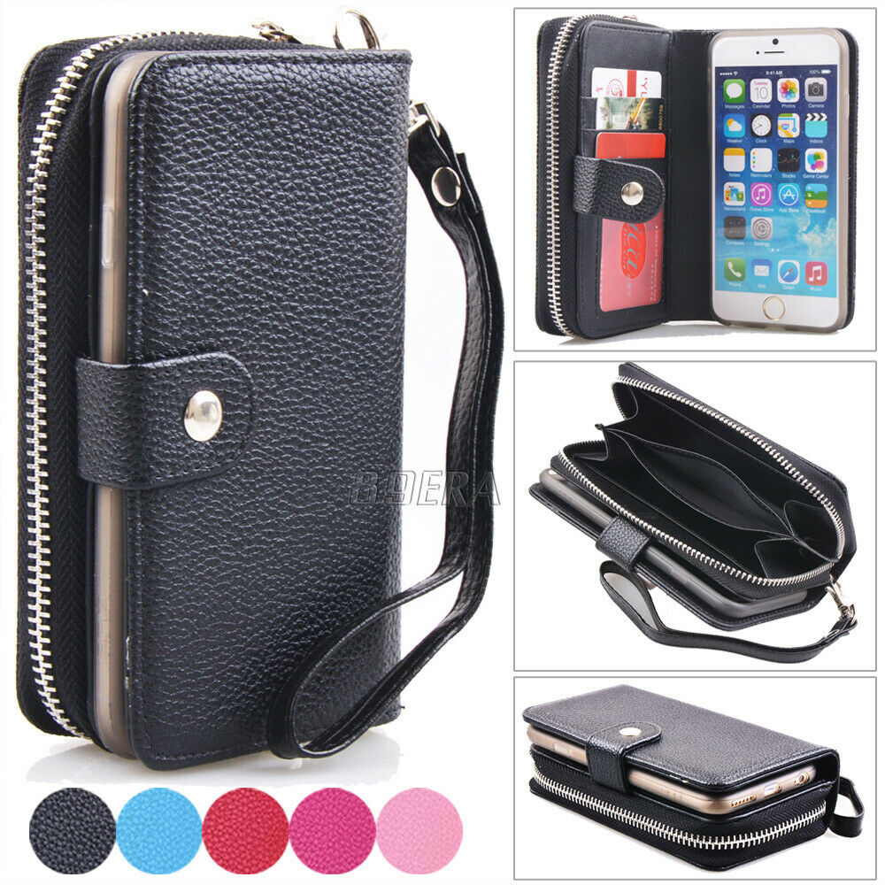 Zipper PU Leather Wristlet Card Wallet Purse Case Cover