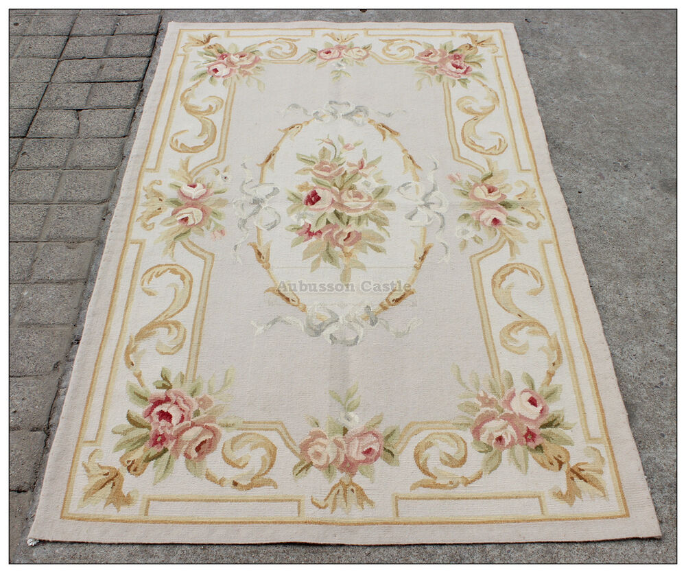 3X5 Pastel Aubusson Area Rug LIGHT GREY GRAY W GOLD PINK