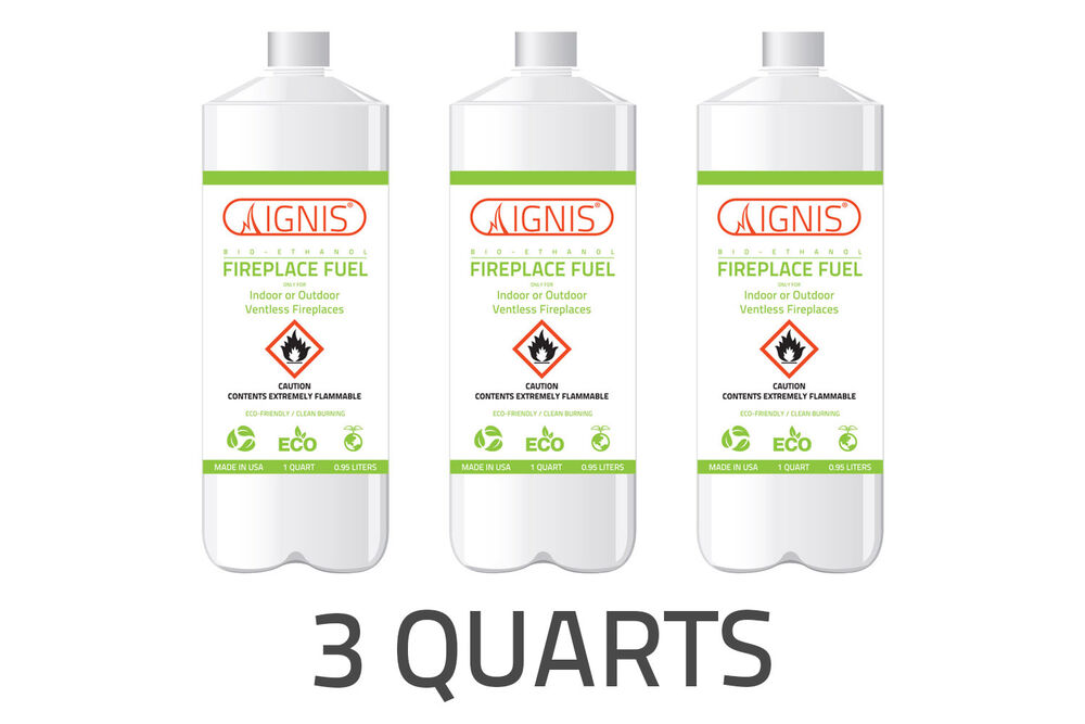ignis bio ethanol fuel 3 pack ethanol fireplace fuel 1 quart each bio fuel 799666946530 ebay. Black Bedroom Furniture Sets. Home Design Ideas