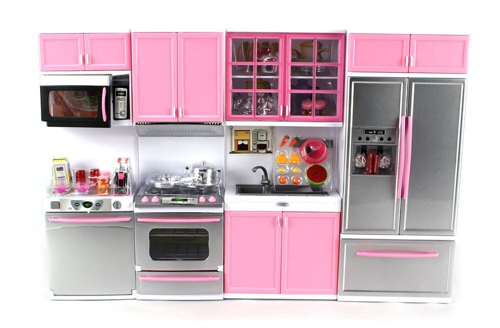 Deluxe pink modern kitchen battery operated girls toy for Girls kitchen set