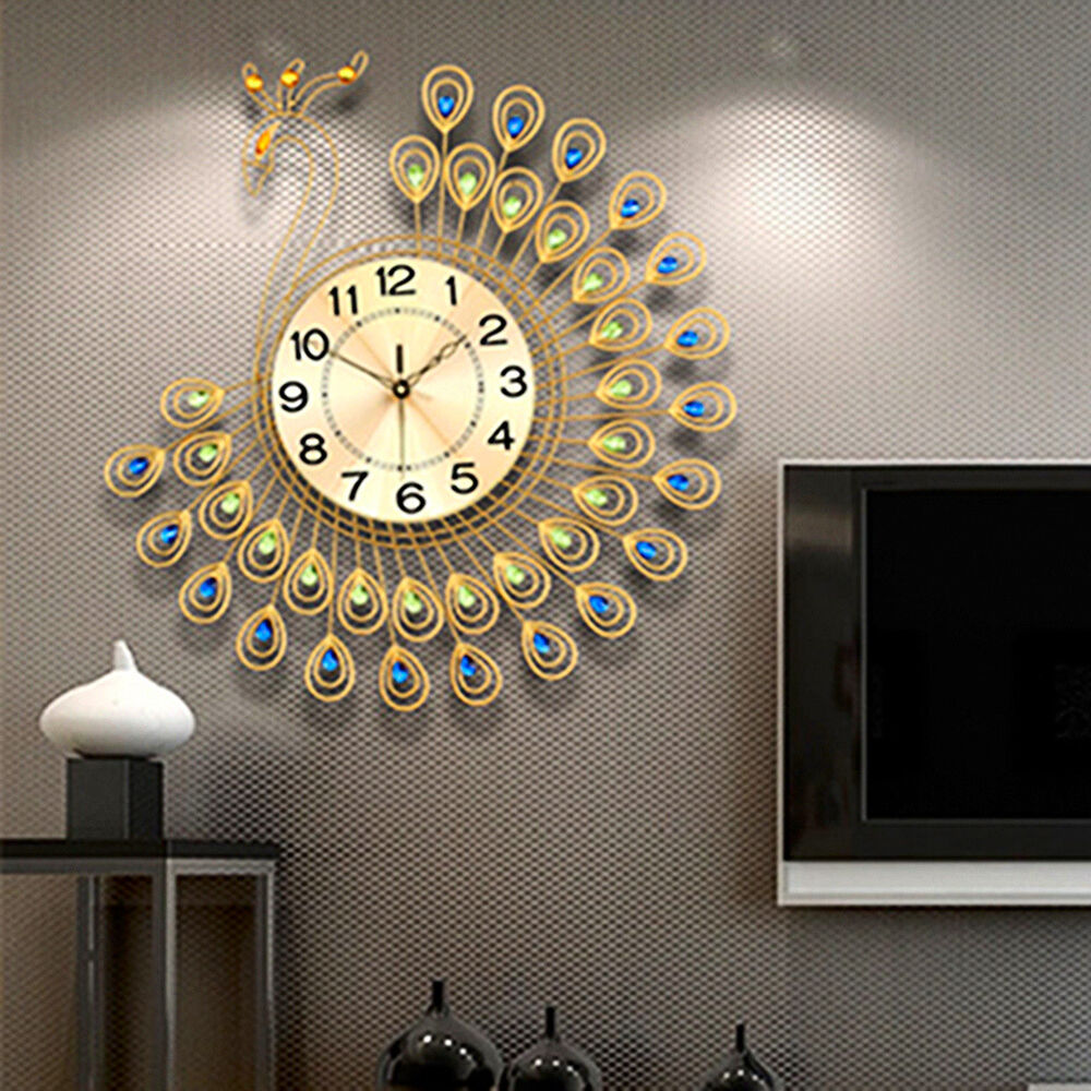 US Creative Gold Peacock Large Wall Clock Metal Living Room Home Decor 53 55c