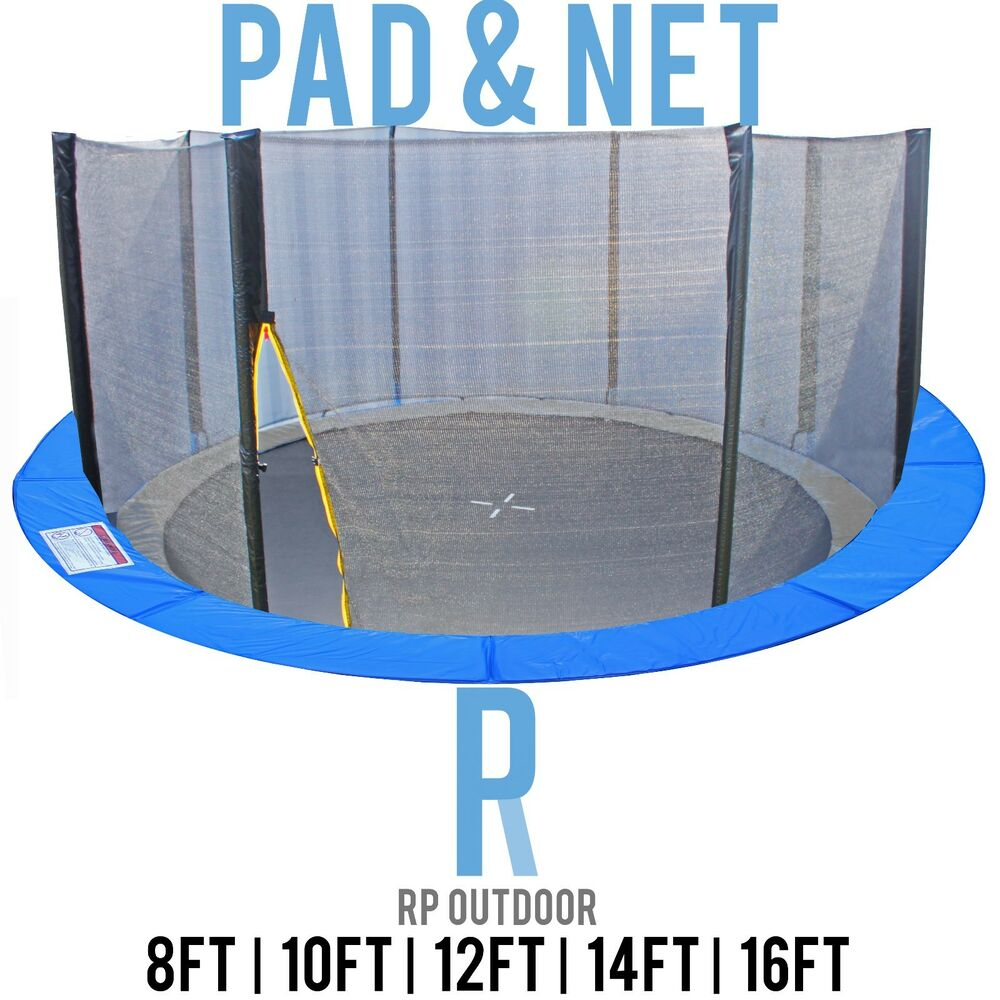 10 12 14 15 Trampoline Replacement Pad Pading Safety Net: NEW Replacement Trampoline Safety Pole Net & Pad Round