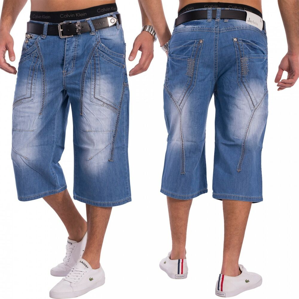 herren jeans shorts kurze hose coolblue denim bermuda 3 4 hellblau ebay. Black Bedroom Furniture Sets. Home Design Ideas