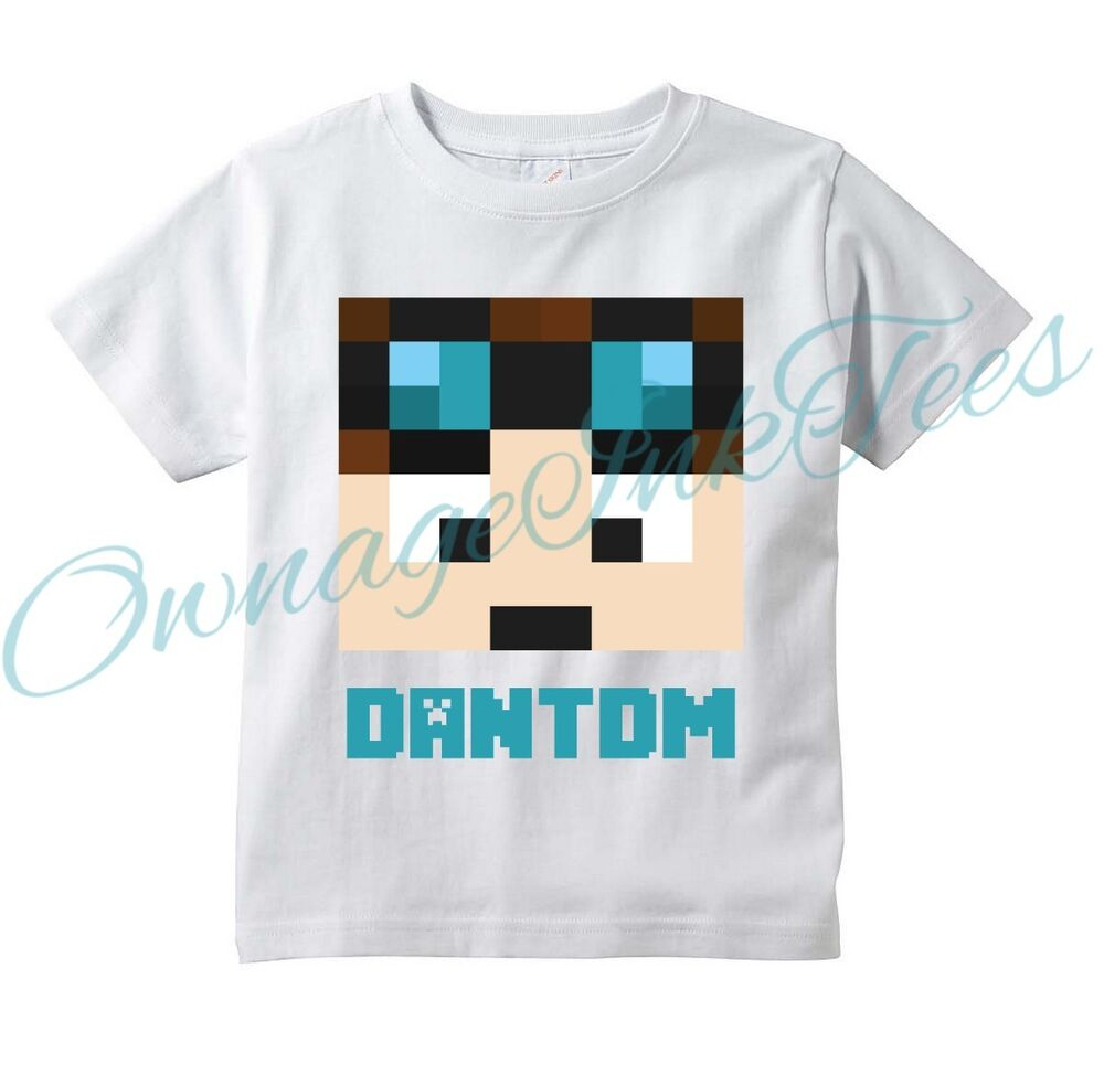 dantdm pixel face custom t shirt youtube tubeheroes diamond minecart ebay. Black Bedroom Furniture Sets. Home Design Ideas