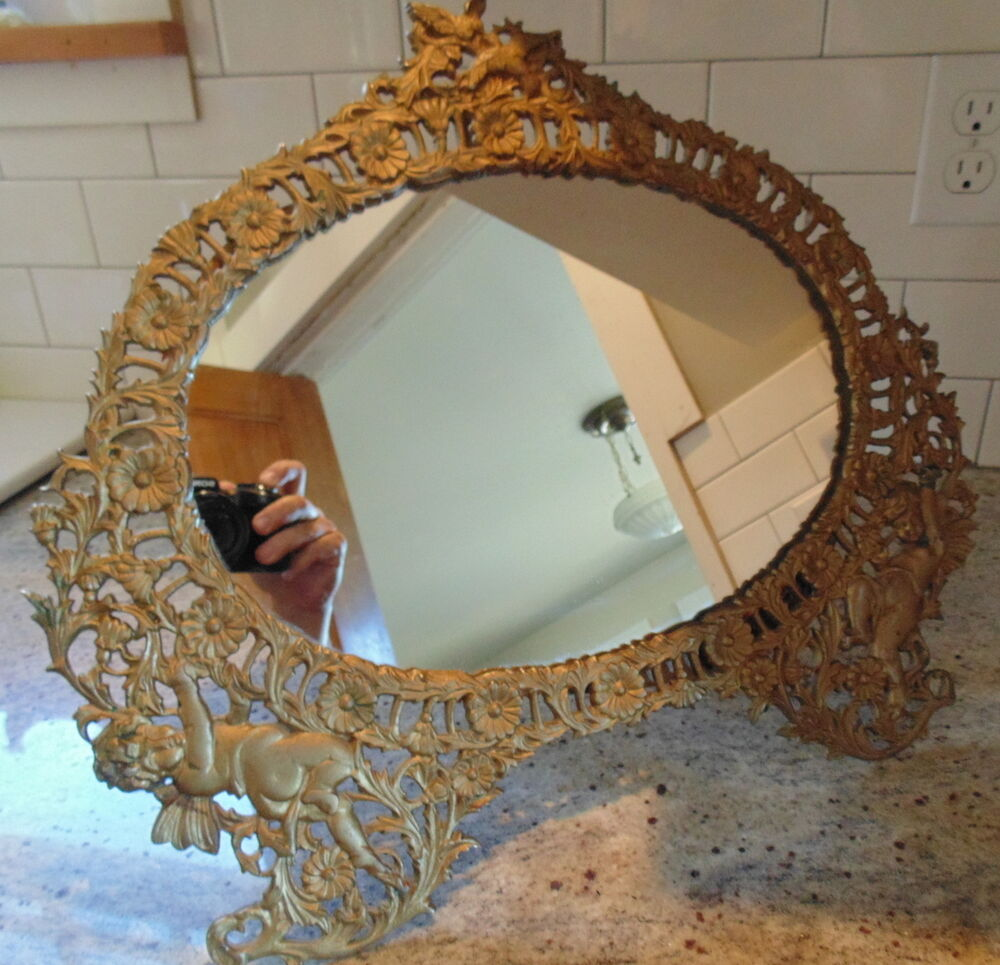 antique art nouveau brass vanity or table top mirror stand cherubs euc ebay. Black Bedroom Furniture Sets. Home Design Ideas
