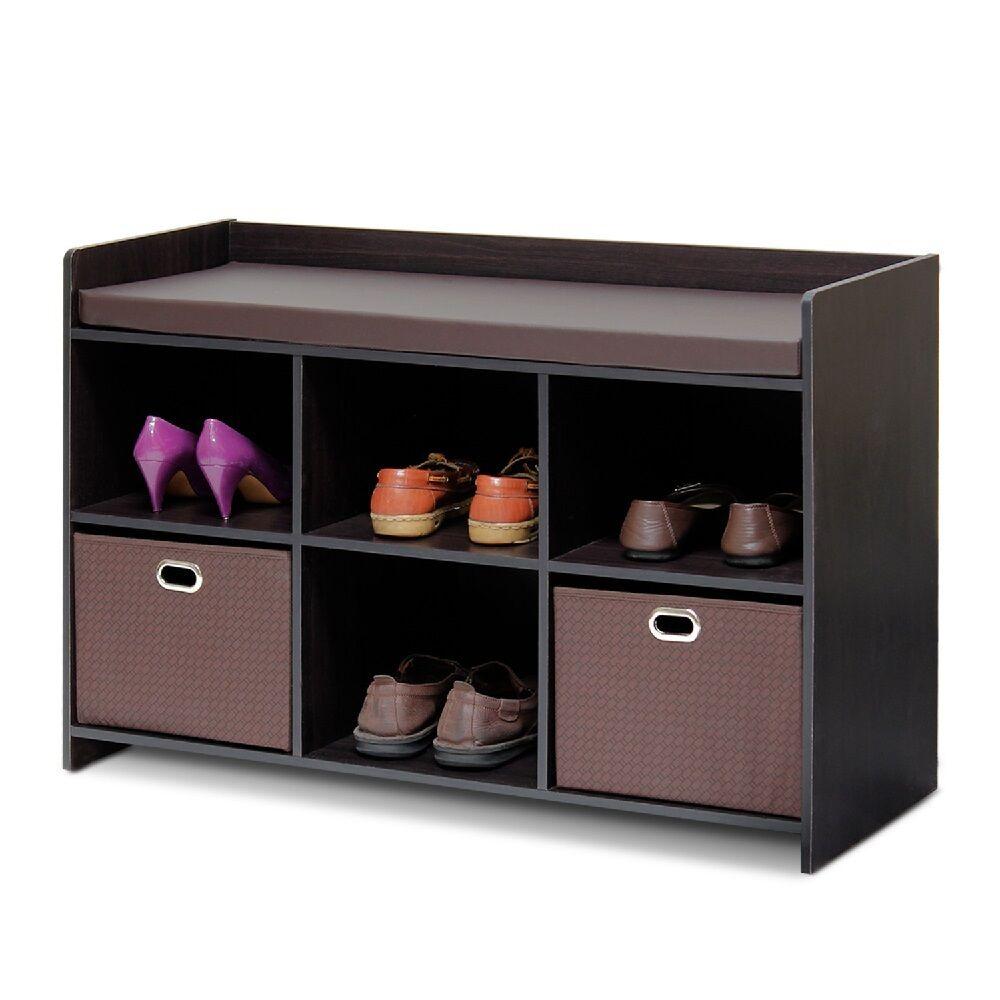 Entryway storage bench shoe organizer entry seat hallway furniture shoes bins ebay Entryway shoe storage bench
