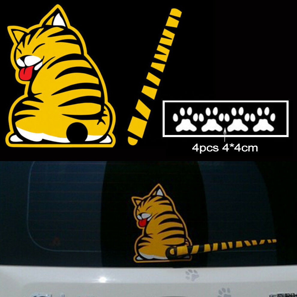 Auto Creative Car Sticker Windshield Reflective Cat Paw