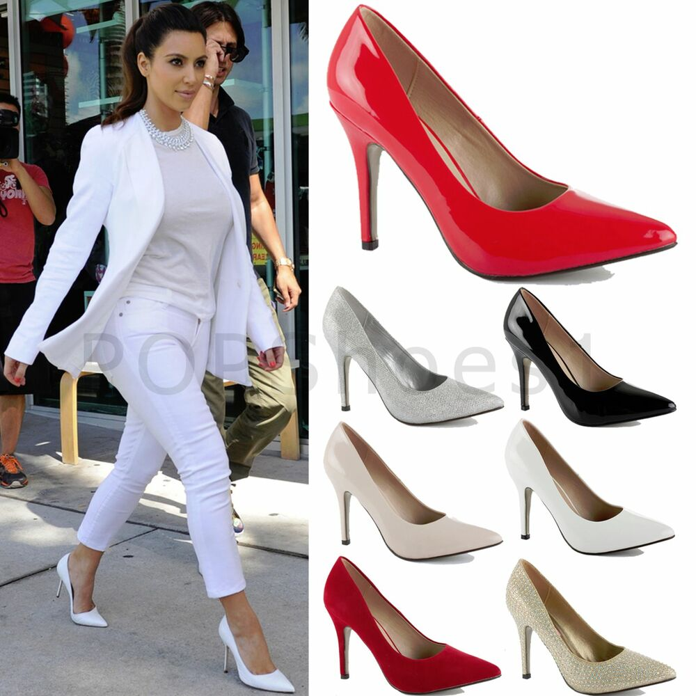 womens ladies mid stiletto pointed toe high heels party pumps court shoes size ebay. Black Bedroom Furniture Sets. Home Design Ideas