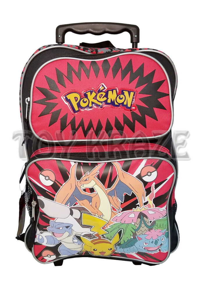 39a52d48a7ed Details about POKEMON ROLLING BACKPACK! BLACK   RED LARGE ROLLER SCHOOL BAG  16