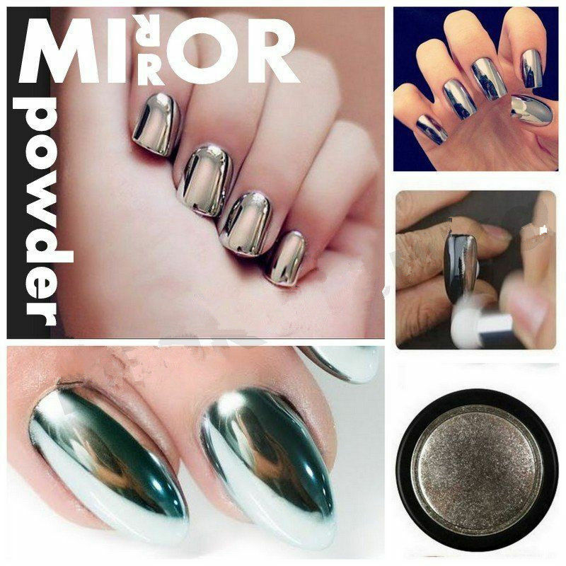 Shiny Silver Mirror Powder Metallic Effect Dust Chrome ...