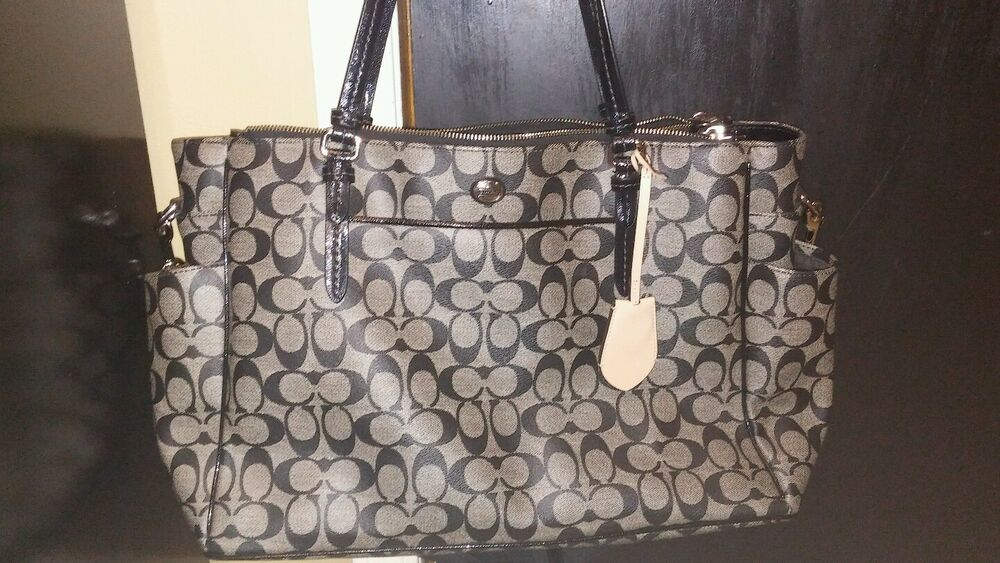 coach peyton signature multifunction diaper baby tote bag f25741 black and gray ebay. Black Bedroom Furniture Sets. Home Design Ideas
