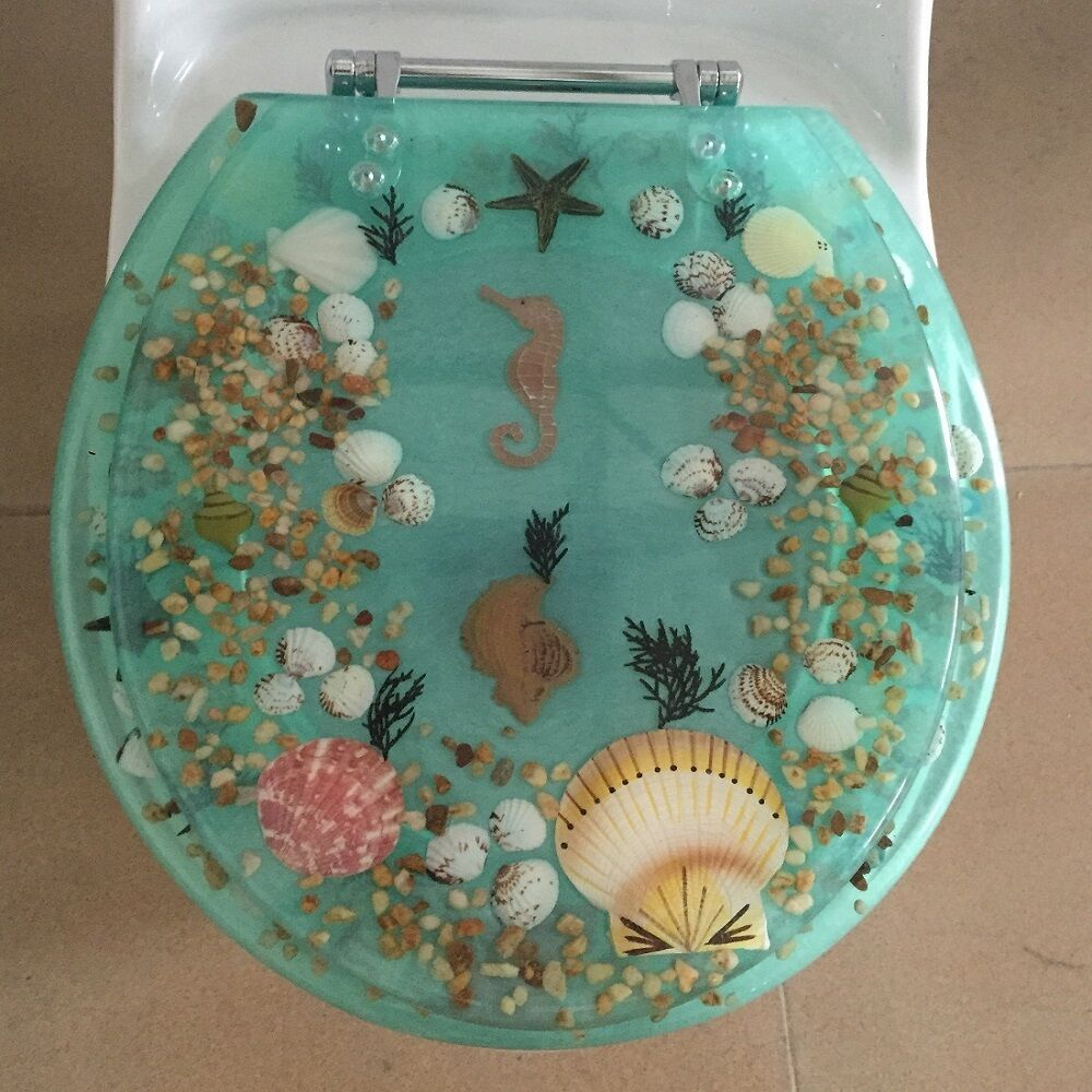 Seahorse Seashells Acrylic Round Shaped Toilet Seat Green
