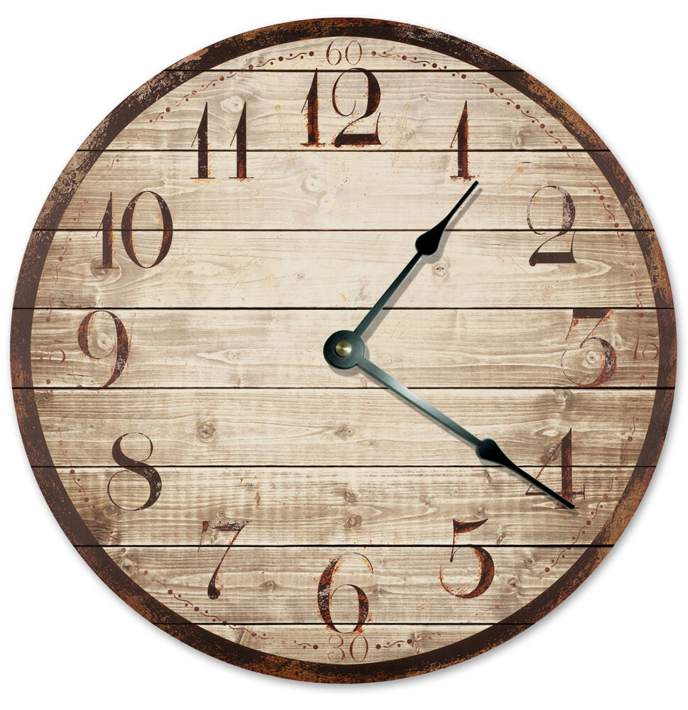 Printed Wood Weathered Looking Clock Large 10 5 Inch Wall