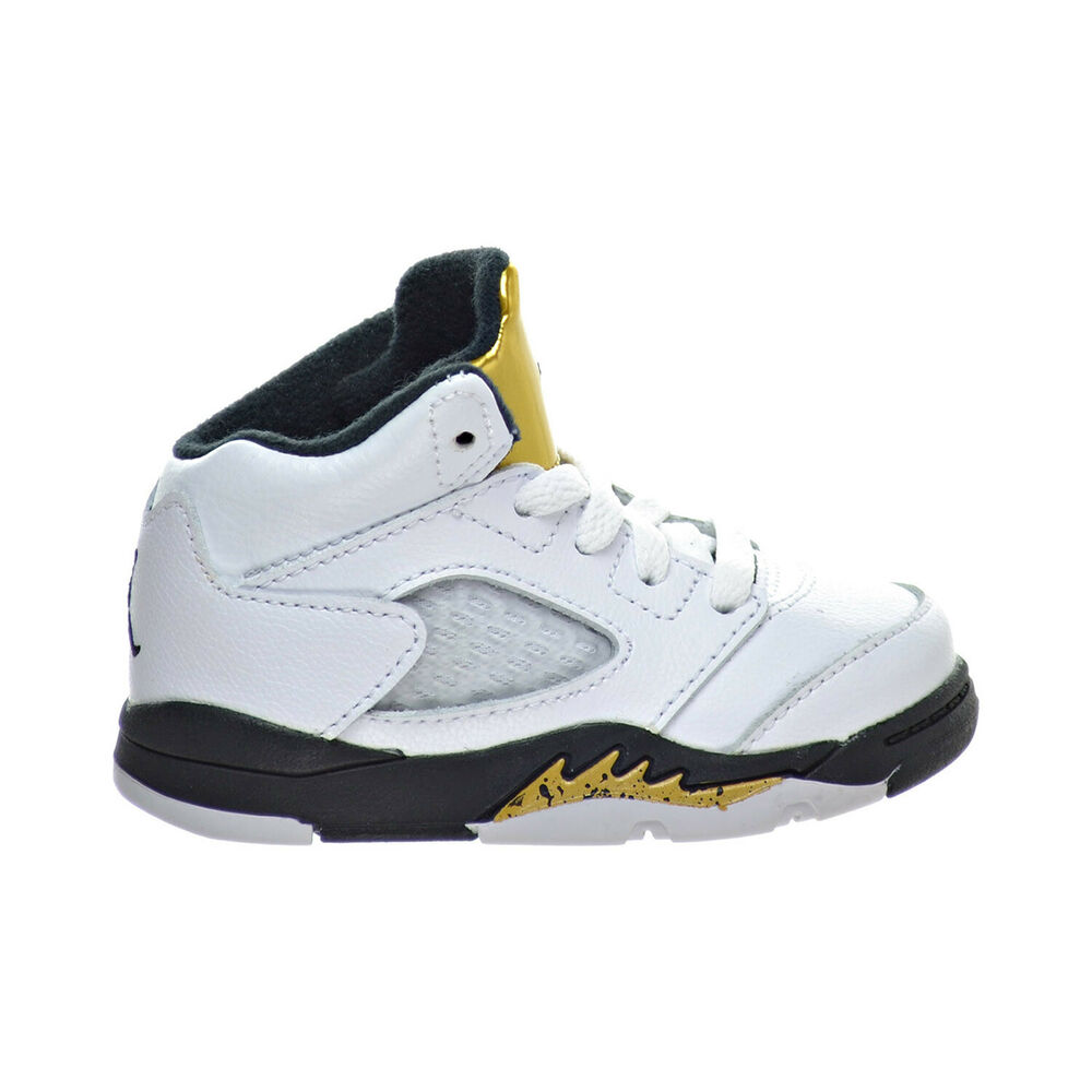 34fce67ac945 Details about Air Jordan 5 Retro BT Toddler s Shoes White Black Metallic  Gold Coin 440890-133