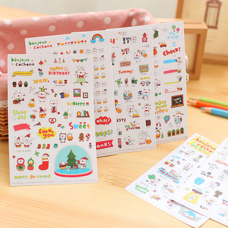Diy Calendar Diary : Sheet cute cartoon pig diy calendar diary book sticker