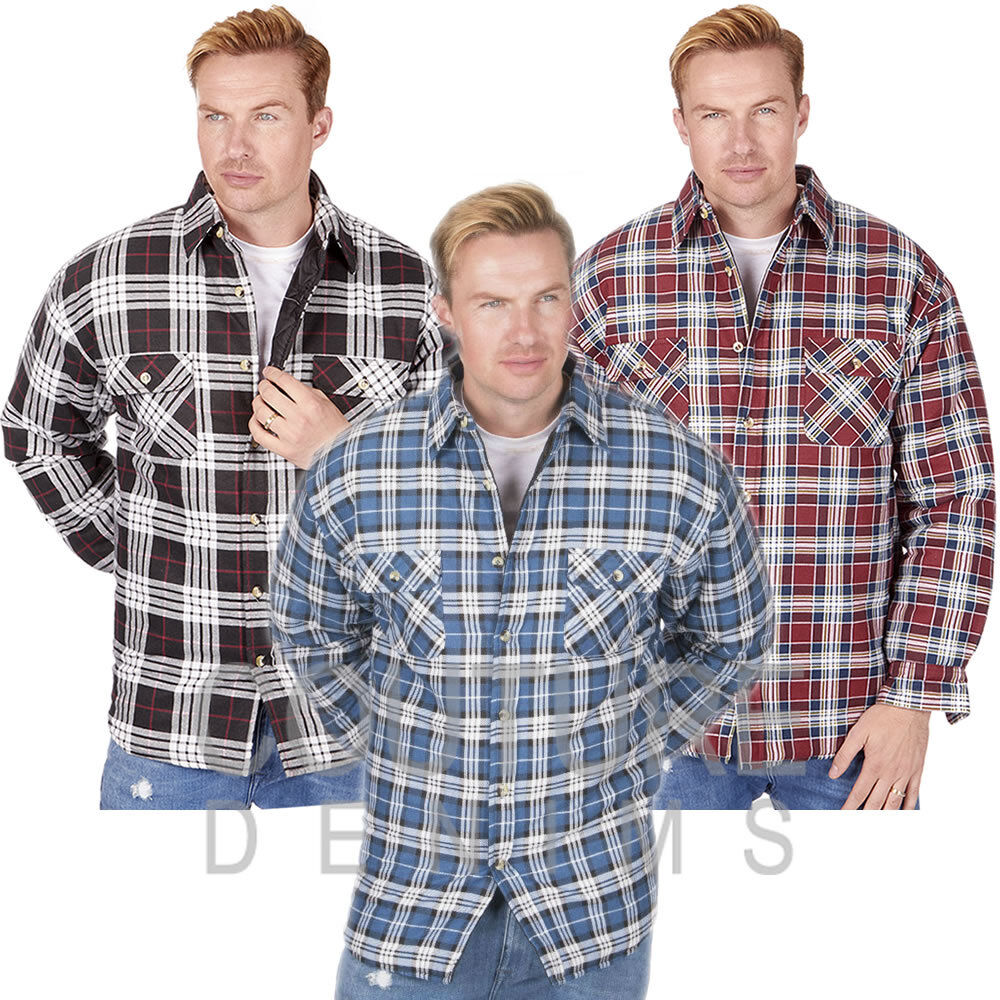 Check padded work shirt mens lumberjack thick lined warm for Mens warm flannel shirts