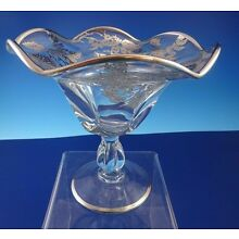 Vintage Glass Pedestal Candy Dish with a Silver Overlay