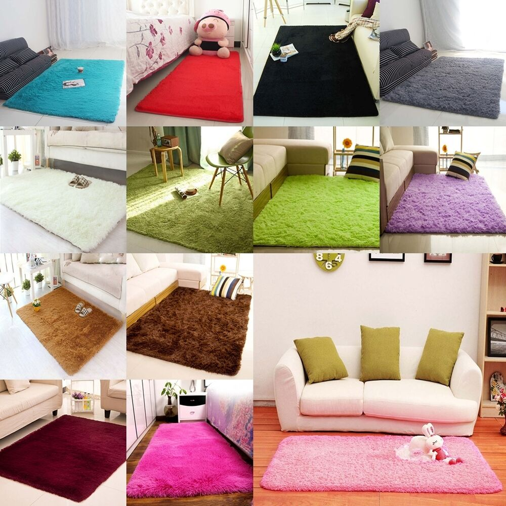 Super soft modern shag area rug living room carpet bedroom for Living room mats