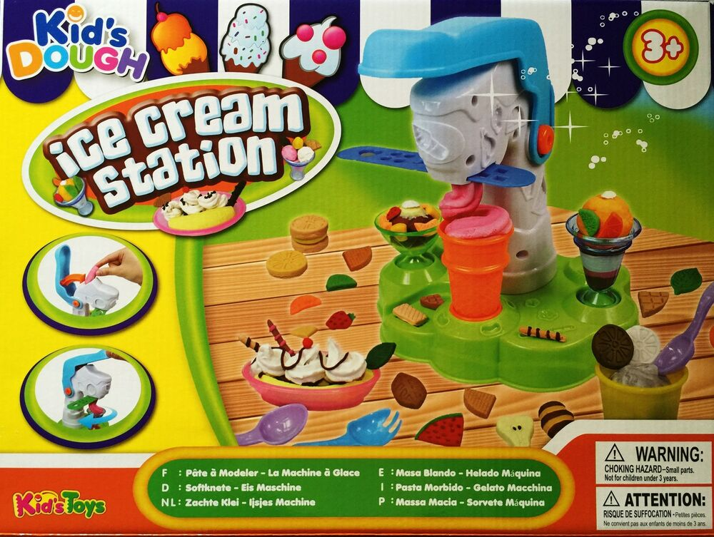 KIDS DOUGH ICE CREAM STATION MODELLING PLAY SET / DOH TUBS FOOD ...