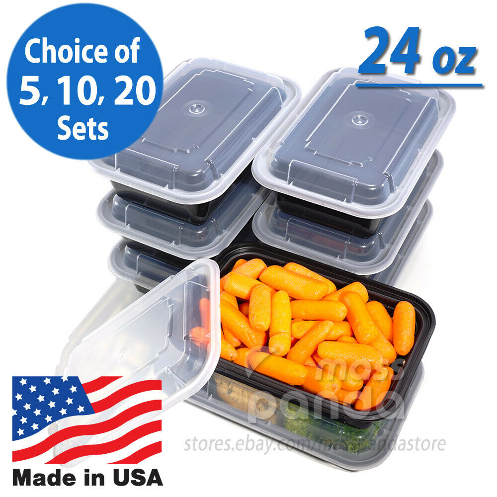 24oz meal prep food containers with lids reusable microwavable plastic bpa free ebay. Black Bedroom Furniture Sets. Home Design Ideas