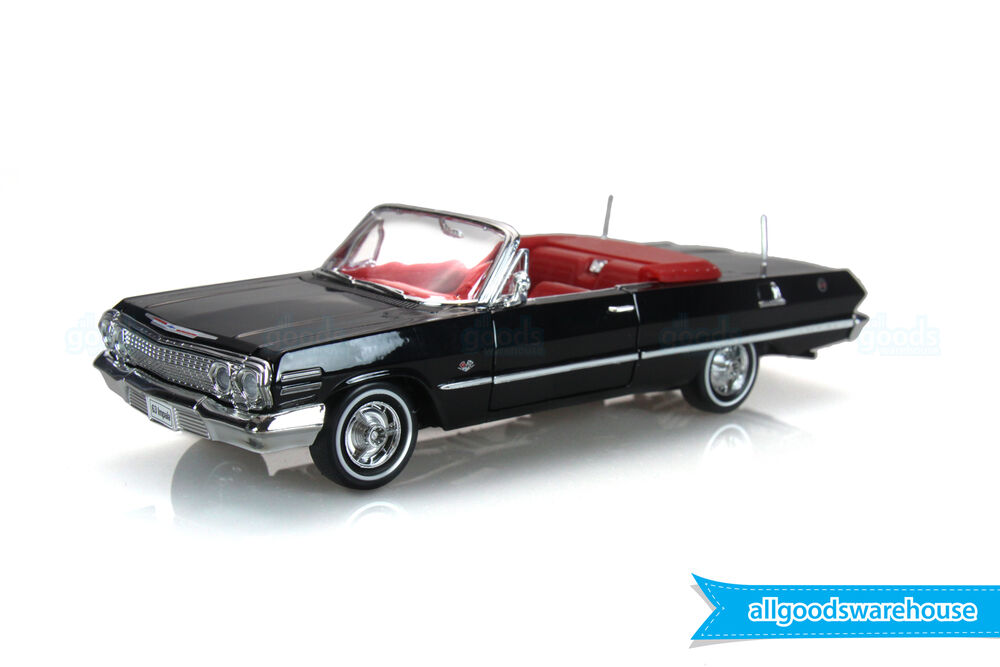 1963 chevrolet impala black convertible 1 24 scale classic diecast model car ebay. Black Bedroom Furniture Sets. Home Design Ideas
