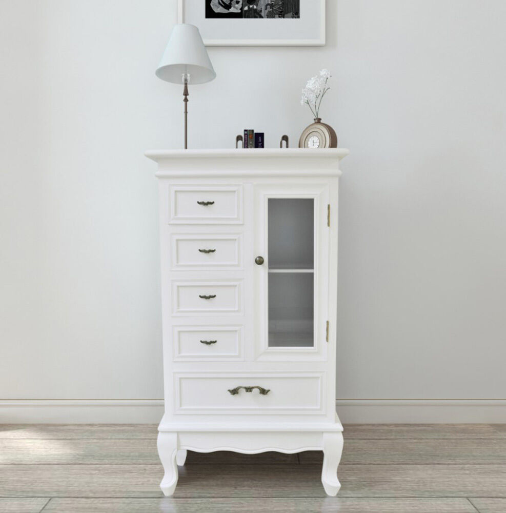 Small Living Room Cabinet White Floor Standing Shabby Chic Unit French Furniture Ebay