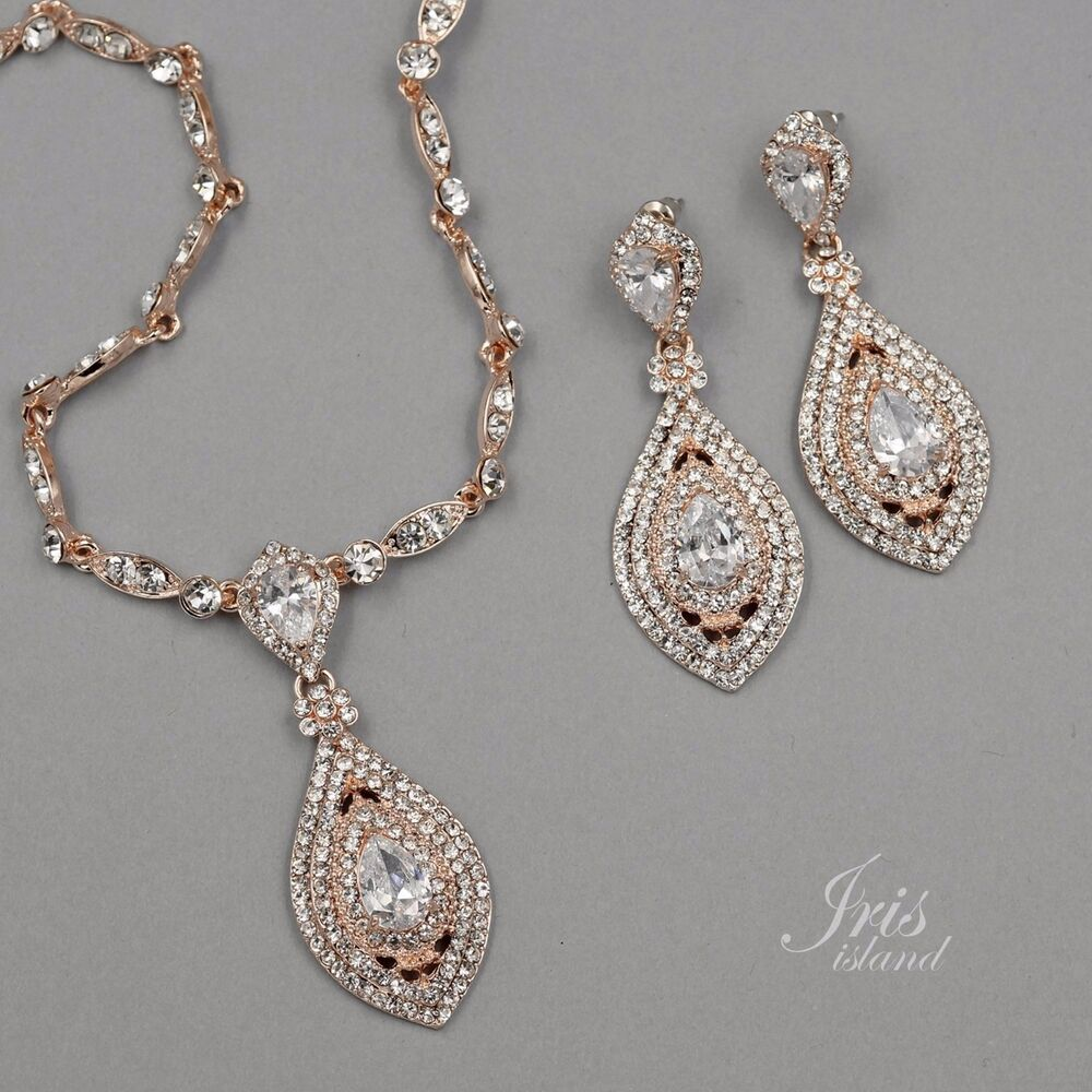 Rose Gold Plated Crystal Cz Necklace Pendant Earrings