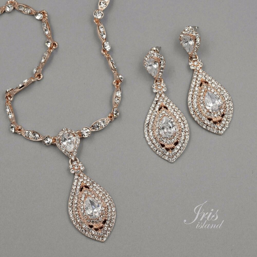 Rose Gold Plated Crystal CZ Necklace Pendant Earrings ...