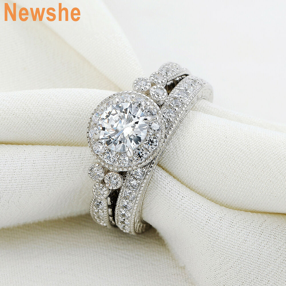 silver wedding ring 1 45 ct cut halo cz 925 sterling silver wedding ring 7460