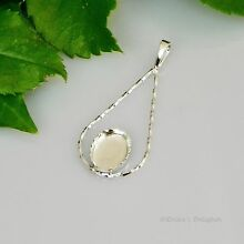 Oval TWISTED TEARDROP Sterling Silver Fancy Cabochon (CAB) Pendant Setting