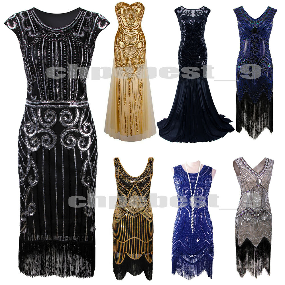 1920s Flapper Dress Gatsby 20 S Charleston Sequin Fringe