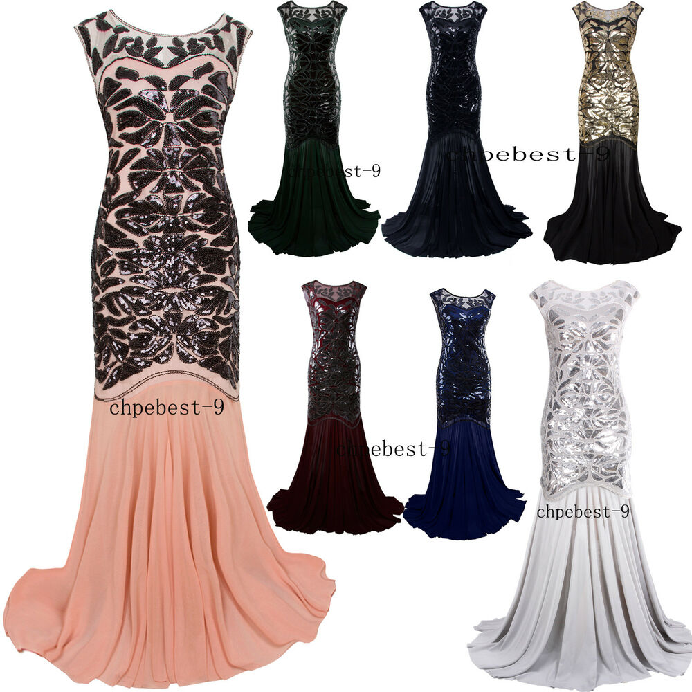 Prom Gown 1920s Flapper Dress Party Long Evening Great