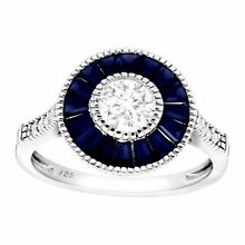 1 5/8 ct Blue & White Created Sapphire Radial Ring in Sterling Silver